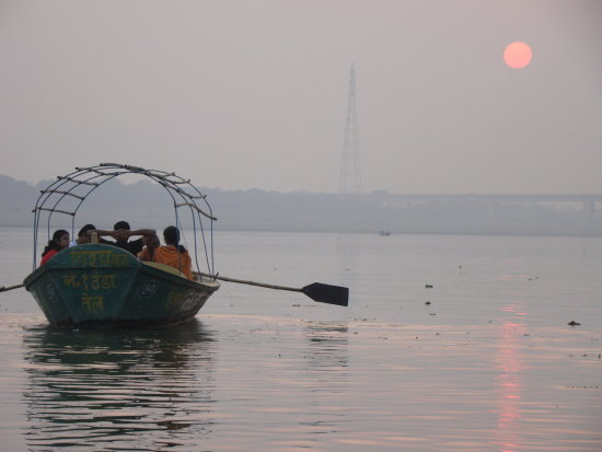 sun set at the point where Ganges Yamuna and Saraswati River meet