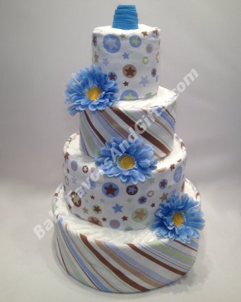 blue stars stripes diaper cake
