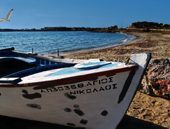 oldboat beach sea sky greece lagonisi