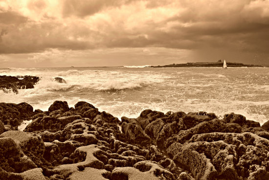 waves sea sepia
