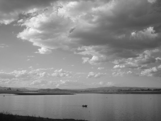 black white lake somerset clouds