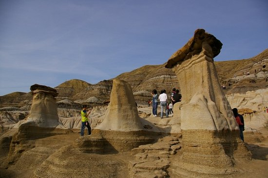 "These formations are called ""Hoodoo's"" and are found in the badlands of  southern Alberta."
