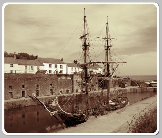 Charlestown Harbour Coast Water Cornwall Sea Boat Ship Sail MMVI
