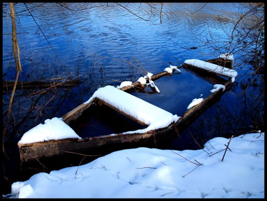winter boat nature