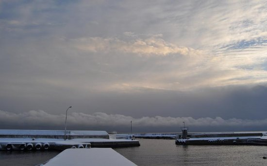 winter snow water harbour clouds