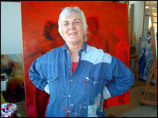 artfriday2 art mom artist mother painting woman red blue portrait smile