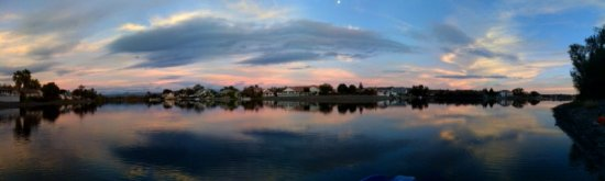 sunset lake reflection clouds pano panorama iphone moon