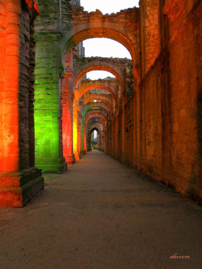 illuminated lights multi coloured cloisters fountains abbey