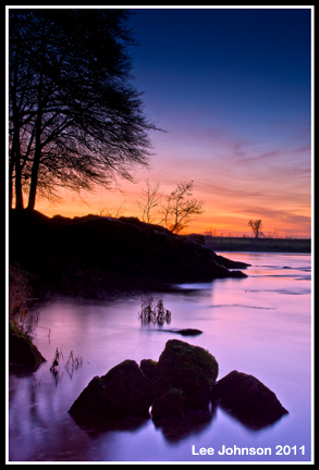 Landscape sunset ribble stones rock water river spideyj