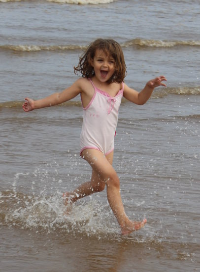 sea girl water sand Holiday happy fun running sun beech