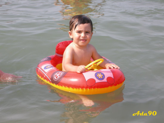 child fun summer swim sea water littlefeet tongueout car