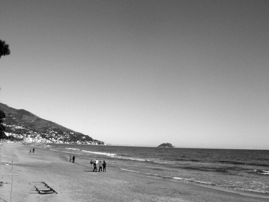 Alassio Savona Italy Liguria sand sea nature water black and white