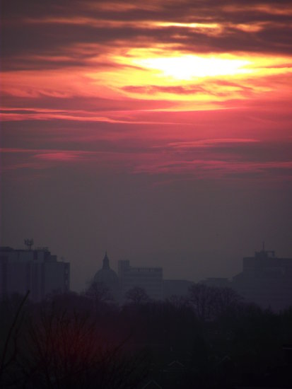 sunset nottingham sky red fire cityviewfriday