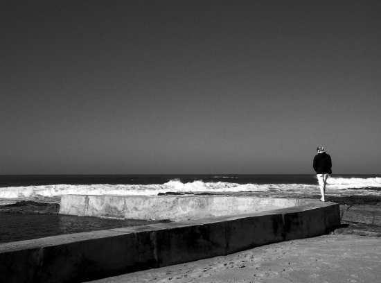 bw girl woman ocean sea pool pensive gunter