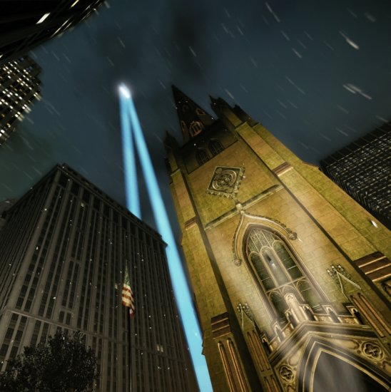 Early screenshot of my recreation of Twin Tower tribute lights