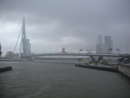 city weather rain water river maas brug bridge erasmus rotterdam holland
