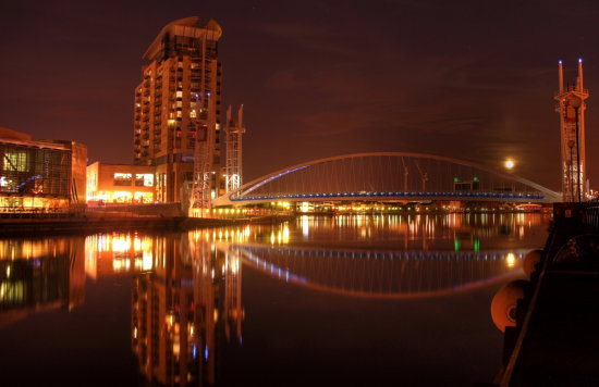 Landscape Salford Quays Manchester Uk Millenium Bridge