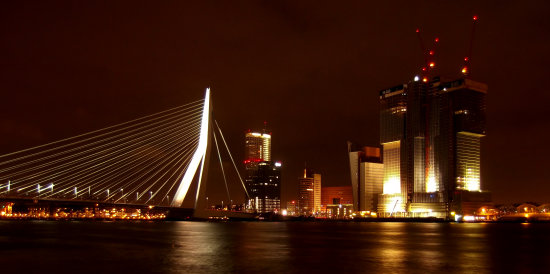 Rotterdam at night including the impressive Erasmus Bridge