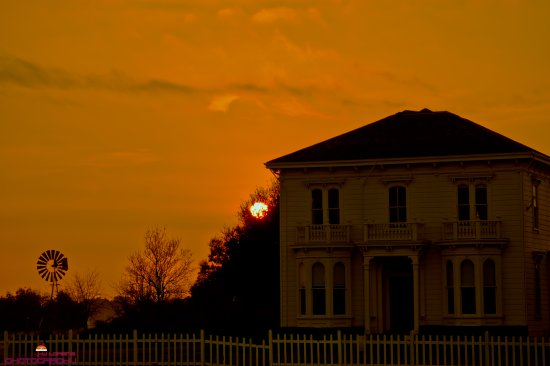 house abandon Napa valley California sun set red orange old rustic