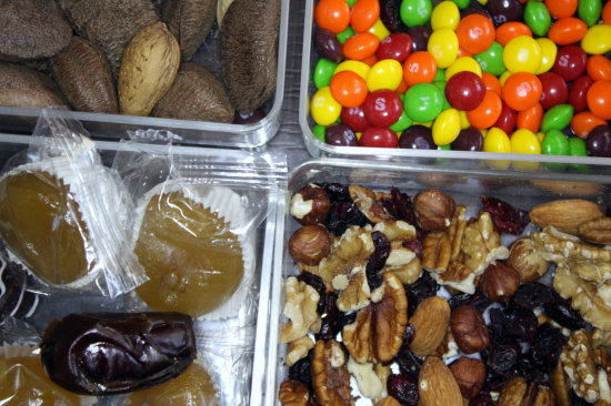 treats candies nuts dried fruits pears dates