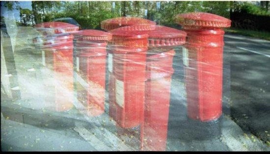 A clump of postboxes appears overnight on a road in Eastbourne. Last for a while.