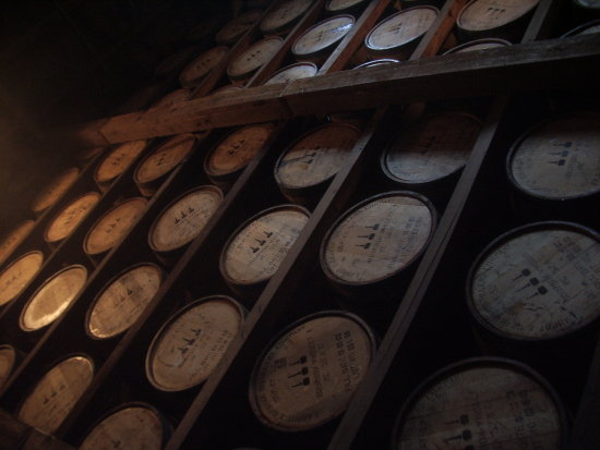 Bourbon aging in the white oak barrels
