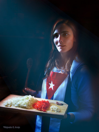 retrato bandera cuba mujer people woman cook portrair flag