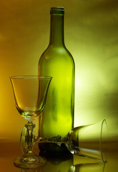 wine bottle glasses beverage gold drink