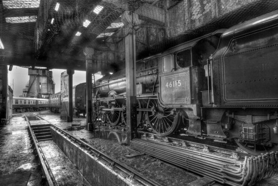 HDR Transport Steam_Locomotive Black_and_White
