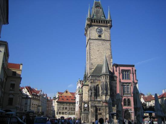 prague square town old tower clock