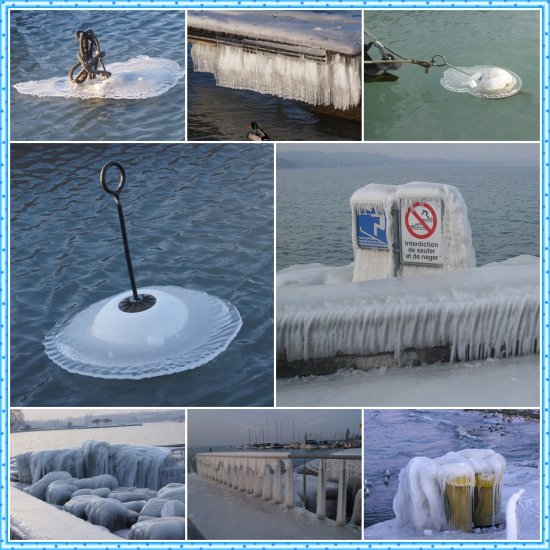 coldness icy beach lake leman geneva collage