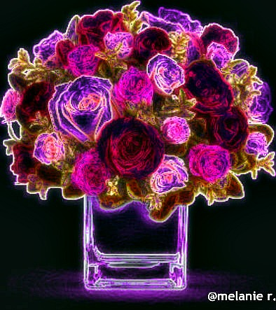 neon roses flowers digitalartclub mellie
