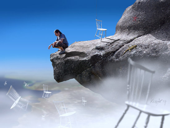 selfportraits blue chair landscape surrealism sky rock portraits cielo