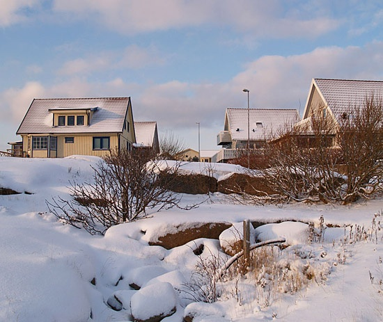 houses sky clouds snow winter