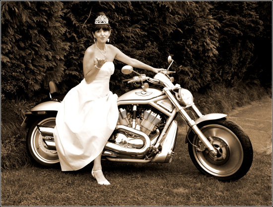 harley davidson model bride wedding cornwall sepia