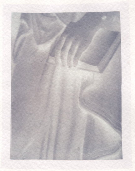 Cemetery Art statue negative black and white poloroid