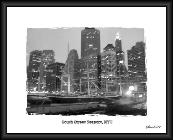 seaport doc boats skylights city landscape nyc shae water river lights