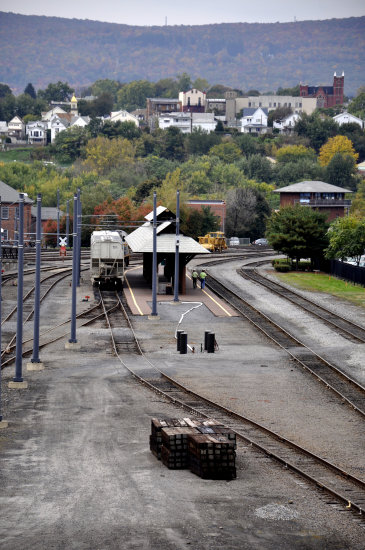 steamtown scranton pennsylvania railroad train station yard view