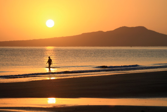 sunrise rangitoto swimmer silhouette