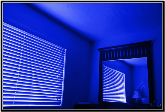 room interior morning abstract blue