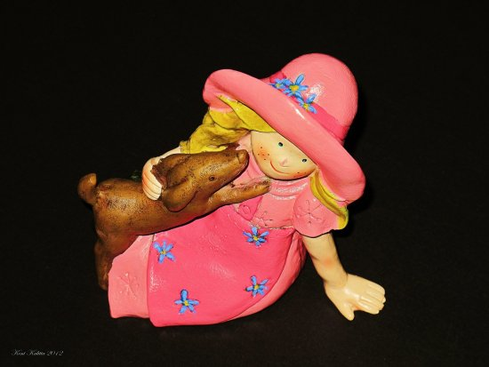 Pink Summer Girl Dog Hat Blue Flower Sculpture Plastic