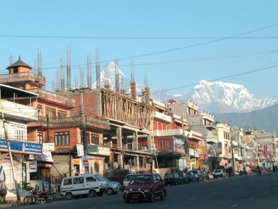 pokhara new road nepal fishtail mountain daily life urbanization