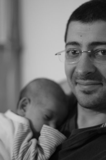 baby dad black and white monochrome