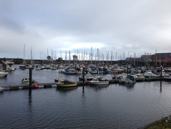 port haven Whitehaven boats sea water ocean view cold rain