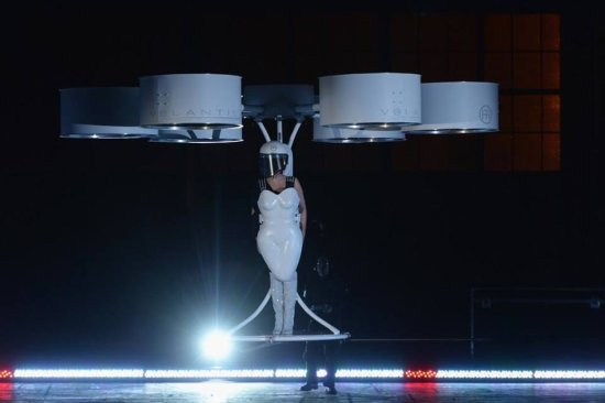 Lady Gaga and her team created the first ever flying dress in which he calls VOLANTIS, in her pas...