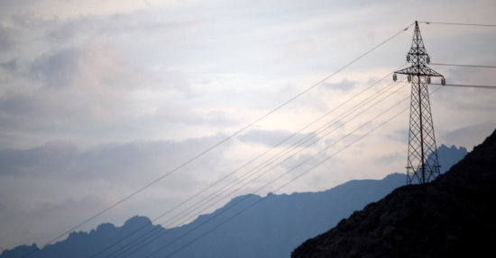sunset mountains power line