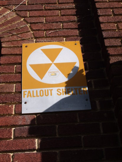 fallout sign shelter yellow white brick red radiation zombies zombie