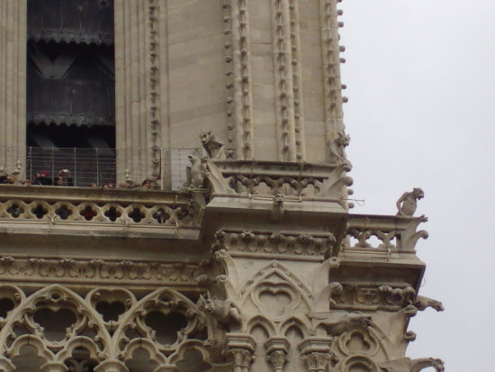 particular of the cathedral gargoil paris france gotic art