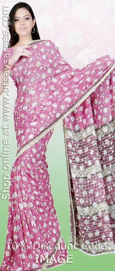 Pink Faux Georgette Saree with Blouse