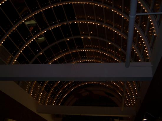 Late at night: Looking up at the mall's lights
